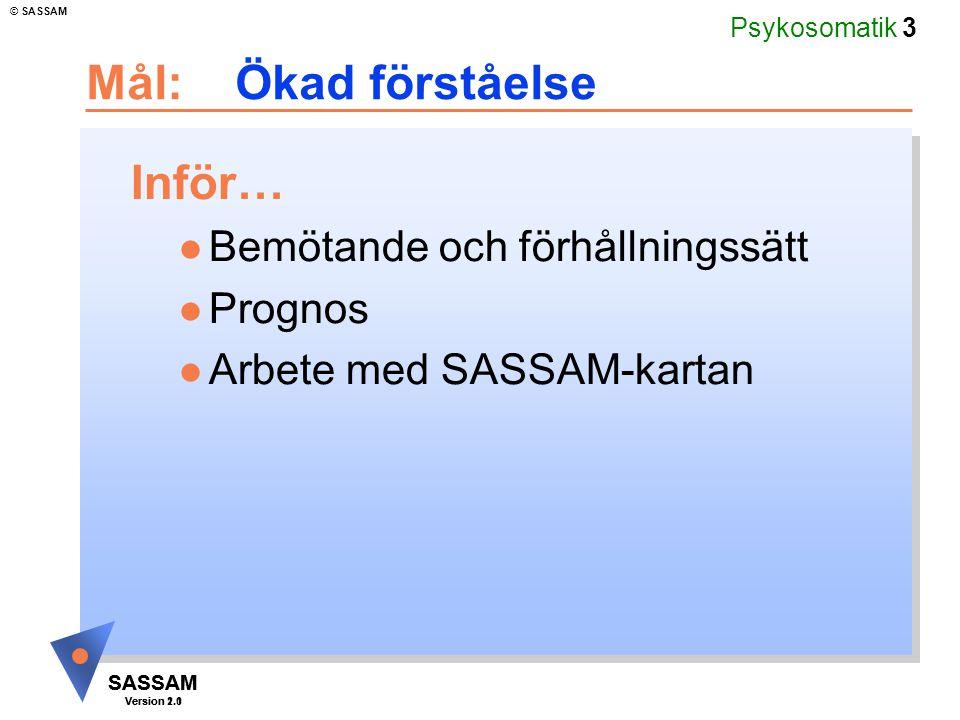 Psykosomatik 3 SASSAM Version 1.1 © SASSAM SASSAM Version 2.0 Mål: Ökad förståelse Inför… l Bemötande och förhållningssätt l Prognos l Arbete med SASS
