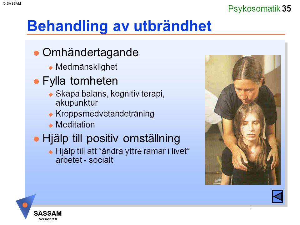 Psykosomatik 35 SASSAM Version 1.1 © SASSAM SASSAM Version 2.0 Behandling av utbrändhet l Omhändertagande u Medmänsklighet l Fylla tomheten u Skapa ba