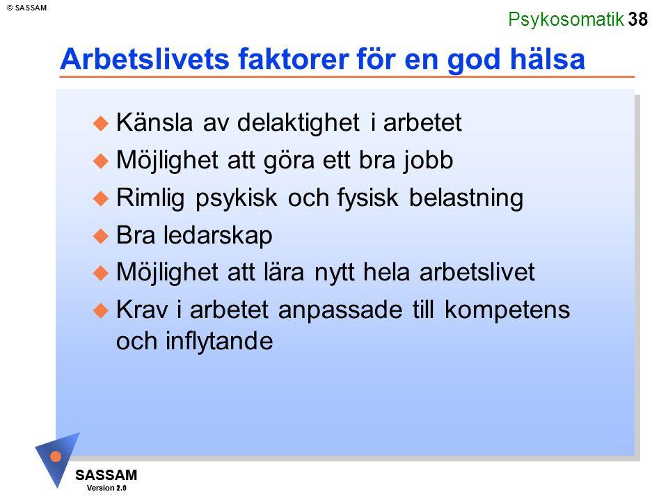Psykosomatik 38 SASSAM Version 1.1 © SASSAM SASSAM Version 2.0 Arbetslivets faktorer för en god hälsa u Känsla av delaktighet i arbetet u Möjlighet at