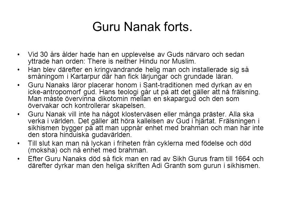Guru Nanak forts. Vid 30 års ålder hade han en upplevelse av Guds närvaro och sedan yttrade han orden: There is neither Hindu nor Muslim. Han blev där