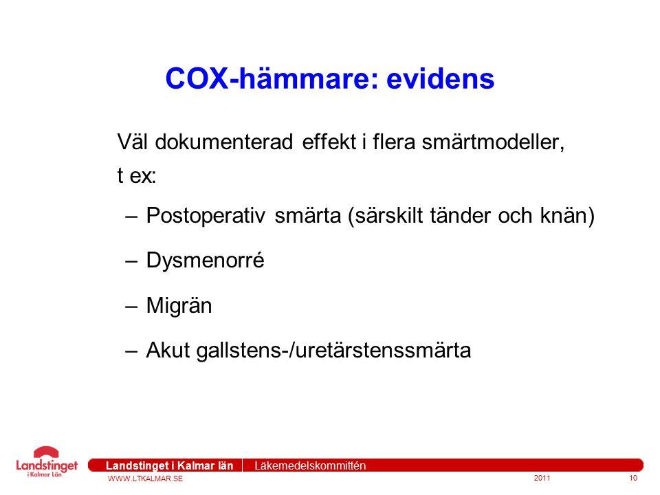 WWW.LTKALMAR.SE Landstinget i Kalmar län Läkemedelskommittén COX-hämmare: evidens Väl dokumenterad effekt i flera smärtmodeller, t ex: –Postoperativ s
