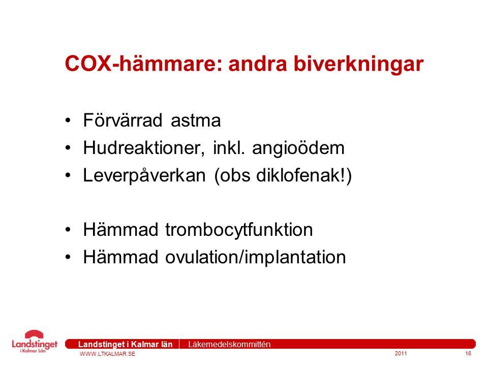 WWW.LTKALMAR.SE Landstinget i Kalmar län Läkemedelskommittén 201116 COX-hämmare: andra biverkningar Förvärrad astma Hudreaktioner, inkl. angioödem Lev