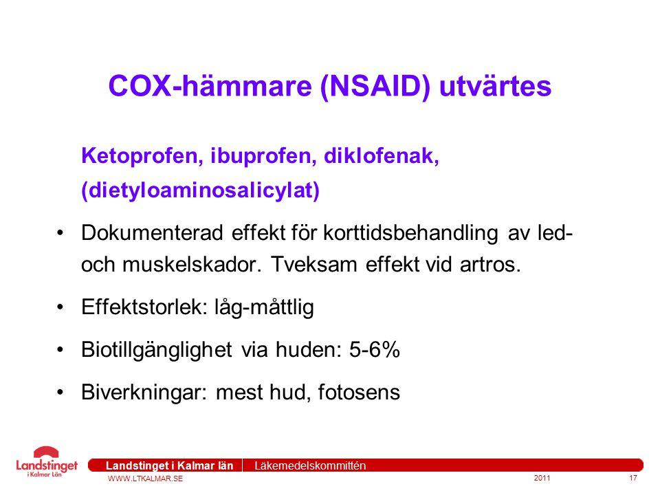 WWW.LTKALMAR.SE Landstinget i Kalmar län Läkemedelskommittén COX-hämmare (NSAID) utvärtes Ketoprofen, ibuprofen, diklofenak, (dietyloaminosalicylat) D