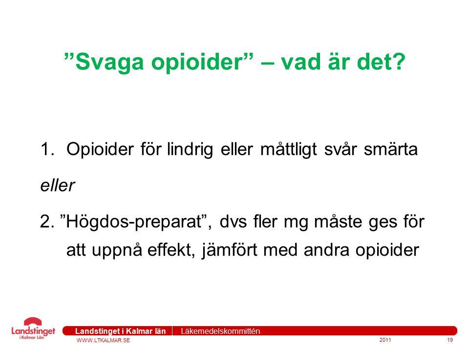 """WWW.LTKALMAR.SE Landstinget i Kalmar län Läkemedelskommittén """"Svaga opioider"""" – vad är det? 1.Opioider för lindrig eller måttligt svår smärta eller 2."""