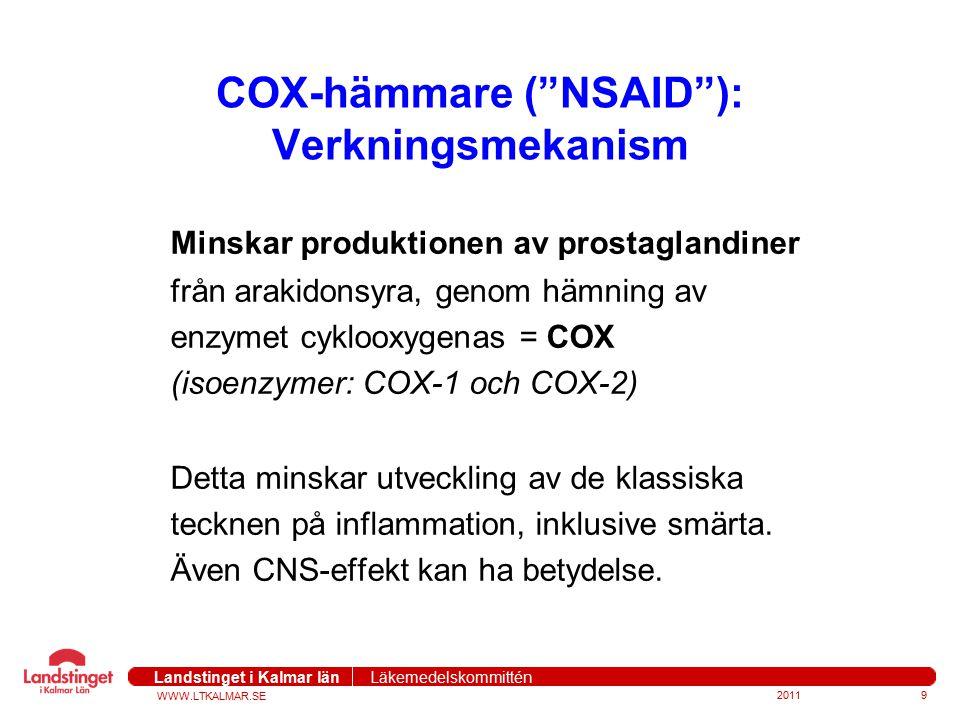 """WWW.LTKALMAR.SE Landstinget i Kalmar län Läkemedelskommittén COX-hämmare (""""NSAID""""): Verkningsmekanism Minskar produktionen av prostaglandiner från ara"""