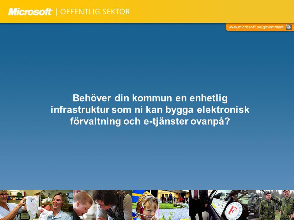 www.microsoft.se/government Behöver din kommun en enhetlig infrastruktur som ni kan bygga elektronisk förvaltning och e-tjänster ovanpå?