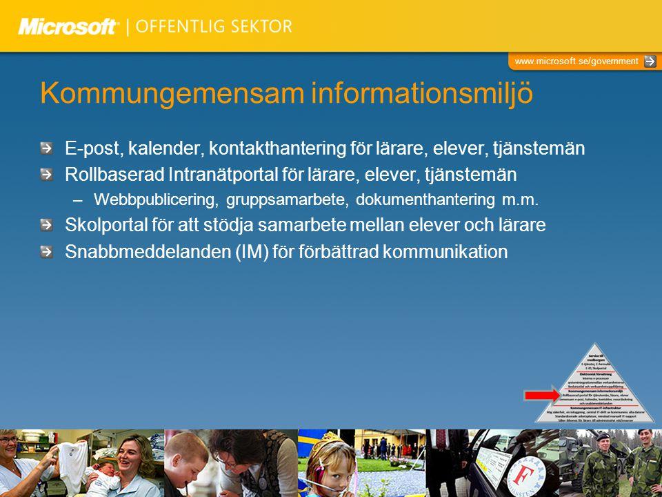 www.microsoft.se/government Kommungemensam informationsmiljö E-post, kalender, kontakthantering för lärare, elever, tjänstemän Rollbaserad Intranätportal för lärare, elever, tjänstemän –Webbpublicering, gruppsamarbete, dokumenthantering m.m.