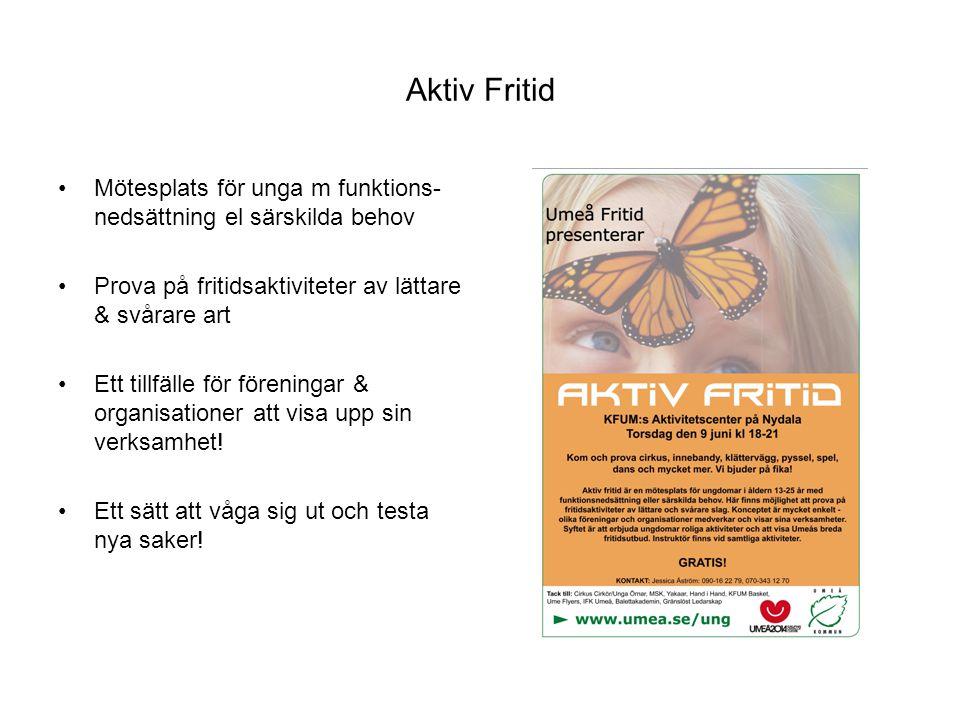 Aktiv Fritid Mötesplats för unga m funktions- nedsättning el särskilda behov Prova på fritidsaktiviteter av lättare & svårare art Ett tillfälle för fö