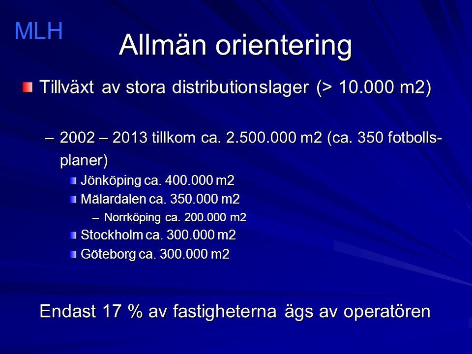 Allmän orientering Tillväxt av stora distributionslager (> 10.000 m2) –2002 – 2013 tillkom ca. 2.500.000 m2 (ca. 350 fotbolls- planer) Jönköping ca. 4