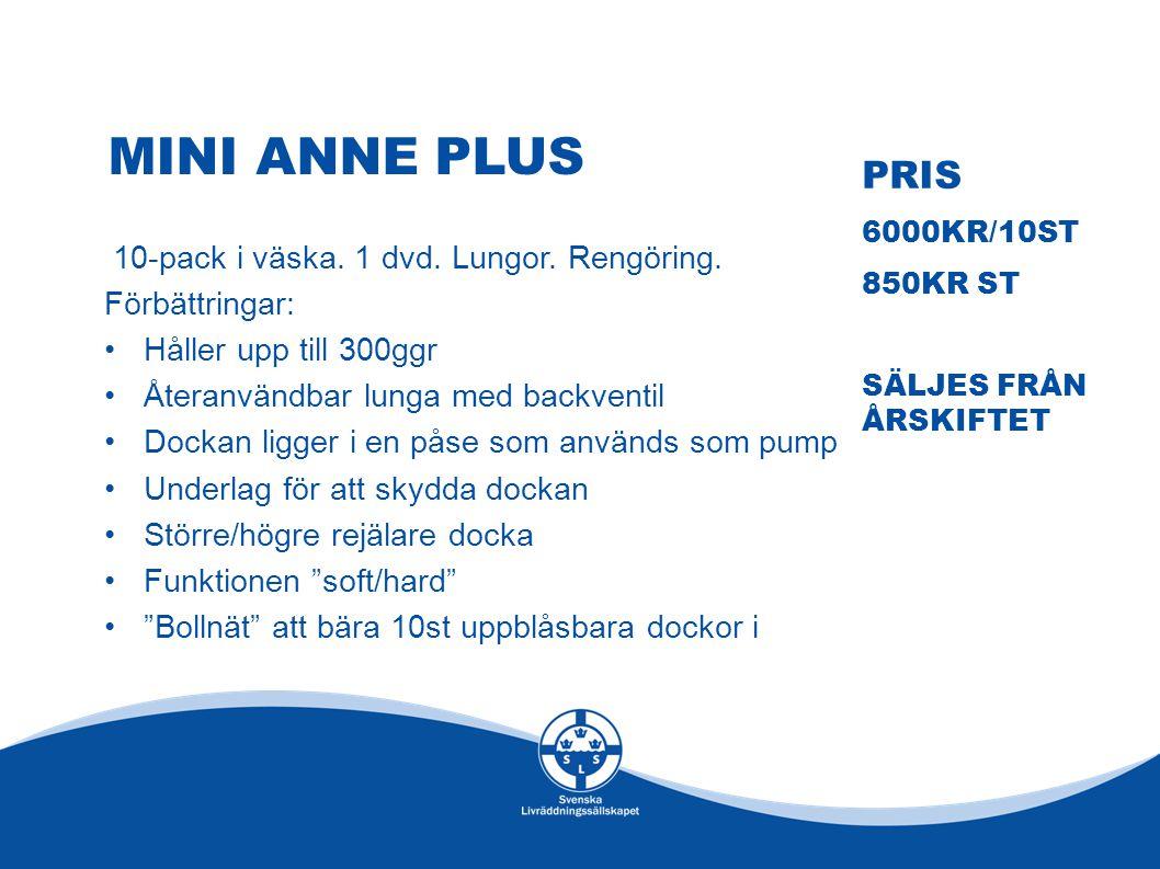 MINI ANNE PLUS 10-pack i väska. 1 dvd. Lungor. Rengöring. Förbättringar: Håller upp till 300ggr Återanvändbar lunga med backventil Dockan ligger i en