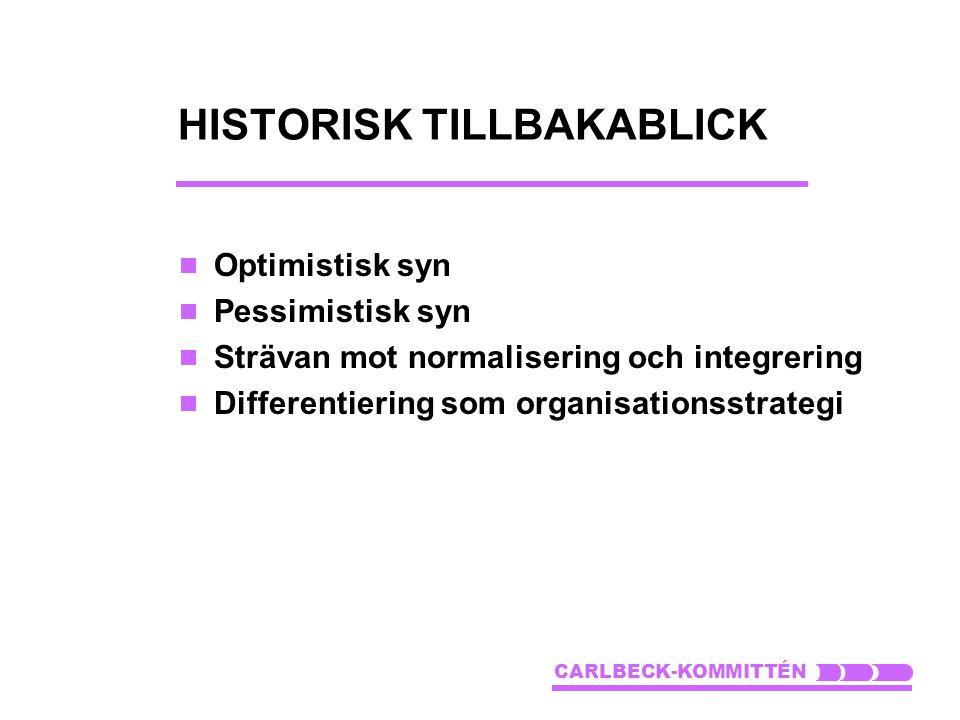 HISTORISK TILLBAKABLICK  Optimistisk syn  Pessimistisk syn  Strävan mot normalisering och integrering  Differentiering som organisationsstrategi C