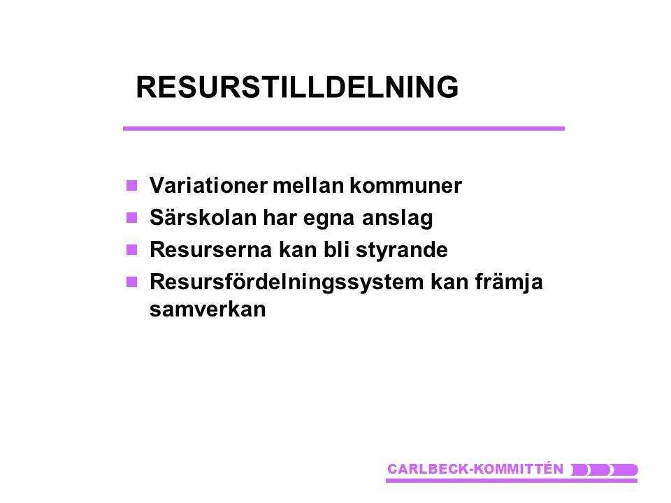 RESURSTILLDELNING  Variationer mellan kommuner  Särskolan har egna anslag  Resurserna kan bli styrande  Resursfördelningssystem kan främja samverk