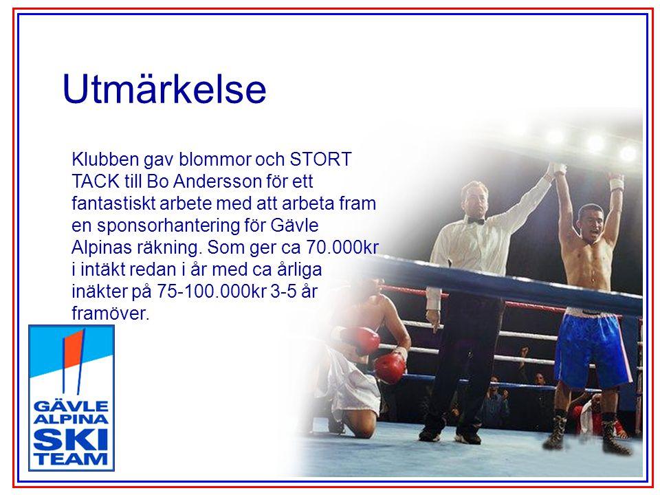 Utmärkelse Klubben gav blommor och STORT TACK till Bo Andersson för ett fantastiskt arbete med att arbeta fram en sponsorhantering för Gävle Alpinas räkning.