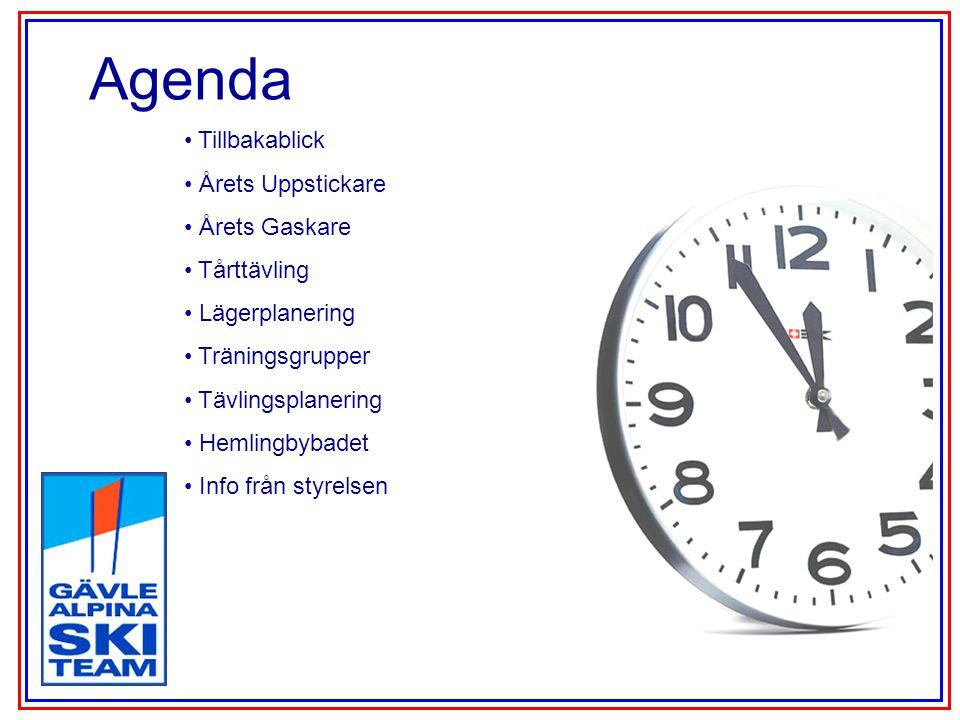 Agenda Tillbakablick Årets Uppstickare Årets Gaskare Tårttävling Lägerplanering Träningsgrupper Tävlingsplanering Hemlingbybadet Info från styrelsen