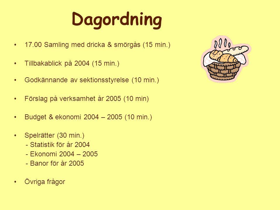 Dagordning 17.00 Samling med dricka & smörgås (15 min.) Tillbakablick på 2004 (15 min.) Godkännande av sektionsstyrelse (10 min.) Förslag på verksamhe