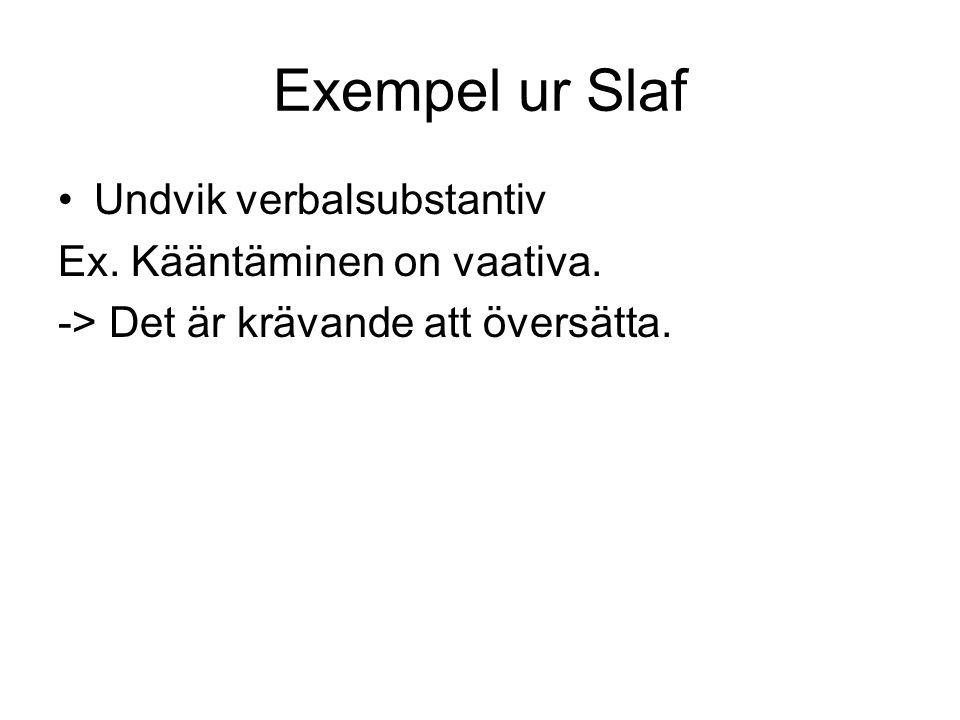 Exempel ur Slaf Undvik verbalsubstantiv Ex. Kääntäminen on vaativa. -> Det är krävande att översätta.