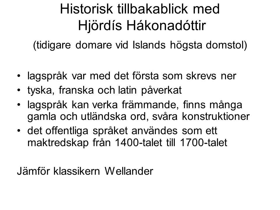 Historisk tillbakablick med Hjördís Hákonadóttir (tidigare domare vid Islands högsta domstol) lagspråk var med det första som skrevs ner tyska, fransk