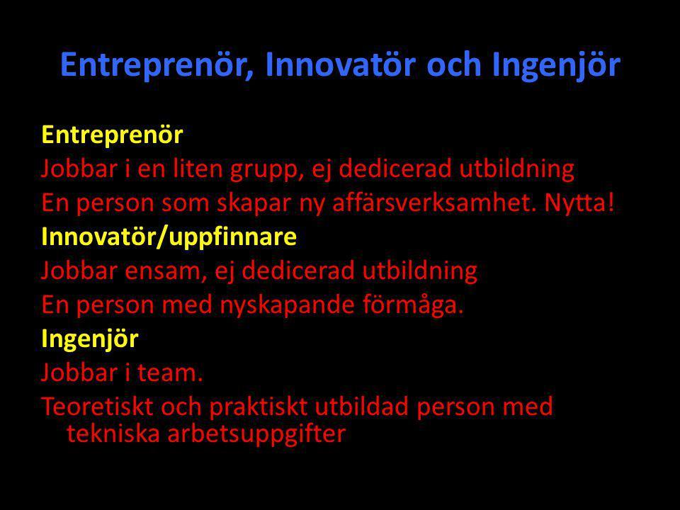 Entreprenör, Innovatör och Ingenjör Entreprenör Jobbar i en liten grupp, ej dedicerad utbildning En person som skapar ny affärsverksamhet. Nytta! Inno