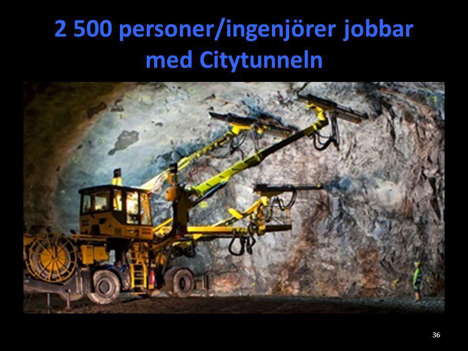 2 500 personer/ingenjörer jobbar med Citytunneln 36