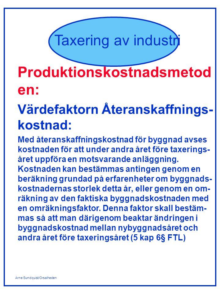 Arne Sundquist/Orsalheden Taxering av industri Produktionskostnadsmetod en: Värdefaktorn Återanskaffnings- kostnad: Med återanskaffningskostnad för by