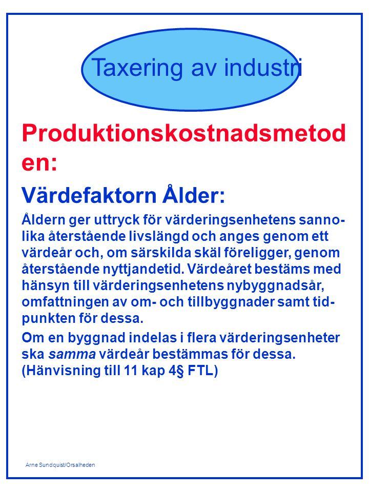 Arne Sundquist/Orsalheden Taxering av industri Produktionskostnadsmetod en: Värdefaktorn Ålder: Åldern ger uttryck för värderingsenhetens sanno- lika