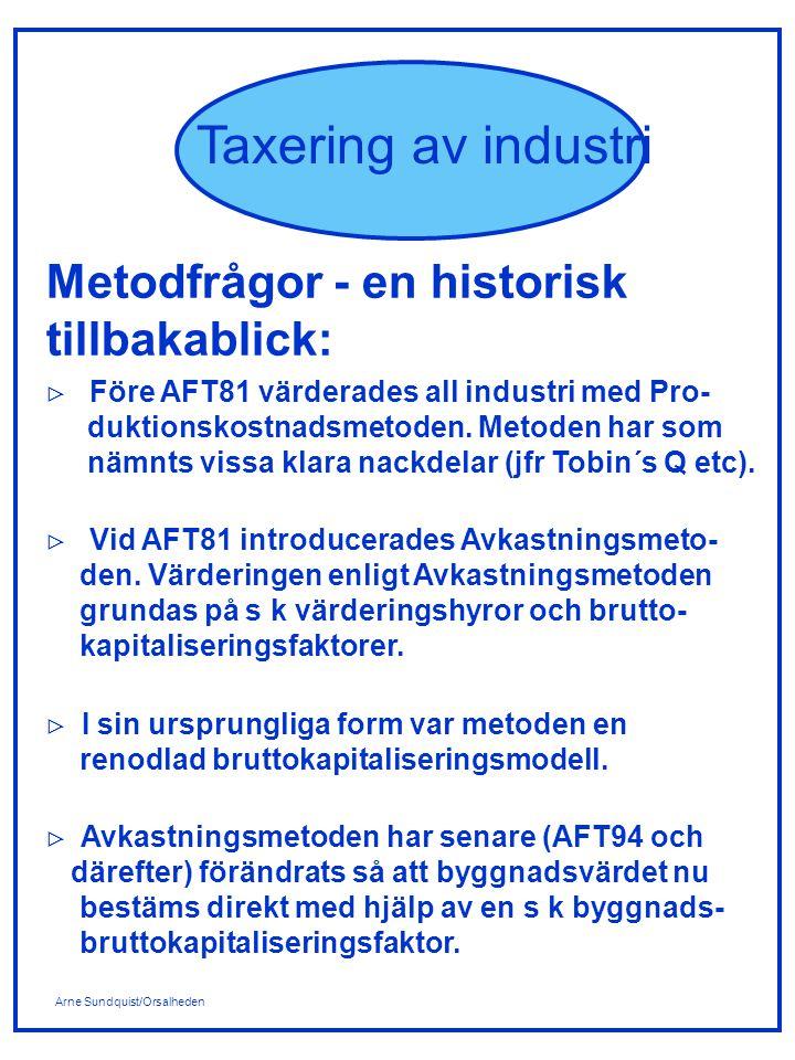 Arne Sundquist/Orsalheden Taxering av industri Metodfrågor - en historisk tillbakablick:  Före AFT81 värderades all industri med Pro- duktionskostnad