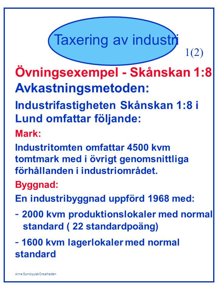 Arne Sundquist/Orsalheden Taxering av industri Övningsexempel - Skånskan 1:8 Avkastningsmetoden: Industrifastigheten Skånskan 1:8 i Lund omfattar följ