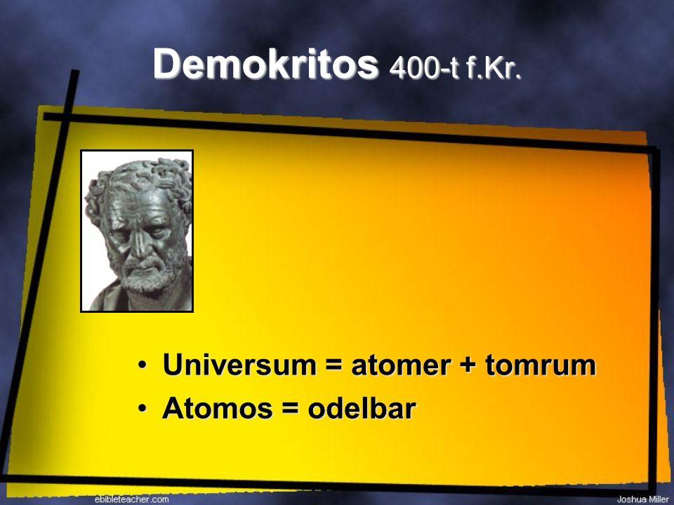 Demokritos 400-t f.Kr. Universum = atomer + tomrumUniversum = atomer + tomrum Atomos = odelbarAtomos = odelbar