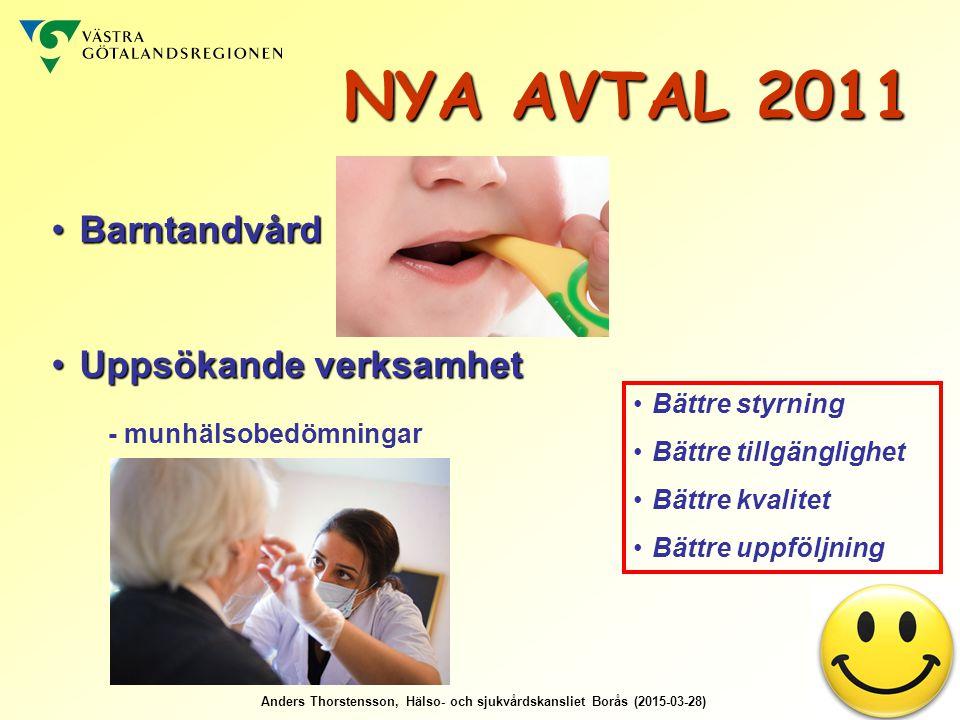 Anders Thorstensson, Hälso- och sjukvårdskansliet Borås (2015-03-28) BarntandvårdBarntandvård Uppsökande verksamhetUppsökande verksamhet - munhälsobedömningar Bättre styrning Bättre tillgänglighet Bättre kvalitet Bättre uppföljning NYA AVTAL 2011