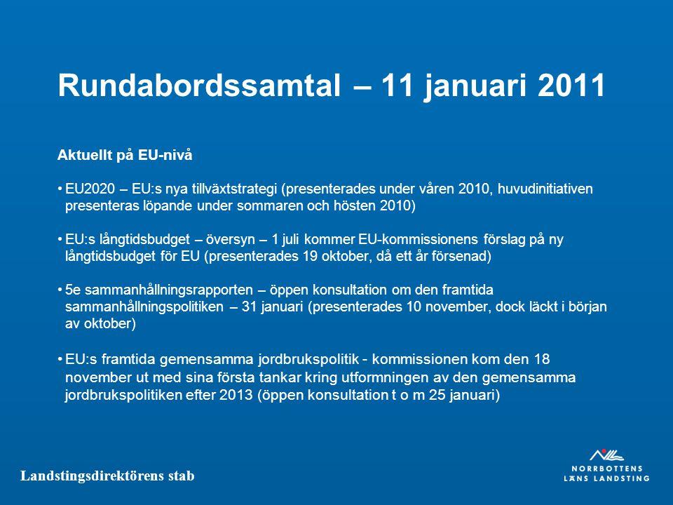 Landstingsdirektörens stab Rundabordssamtal – 11 januari 2011 Aktuellt på EU-nivå EU2020 – EU:s nya tillväxtstrategi (presenterades under våren 2010, huvudinitiativen presenteras löpande under sommaren och hösten 2010) EU:s långtidsbudget – översyn – 1 juli kommer EU-kommissionens förslag på ny långtidsbudget för EU (presenterades 19 oktober, då ett år försenad) 5e sammanhållningsrapporten – öppen konsultation om den framtida sammanhållningspolitiken – 31 januari (presenterades 10 november, dock läckt i början av oktober) EU:s framtida gemensamma jordbrukspolitik - kommissionen kom den 18 november ut med sina första tankar kring utformningen av den gemensamma jordbrukspolitiken efter 2013 (öppen konsultation t o m 25 januari)