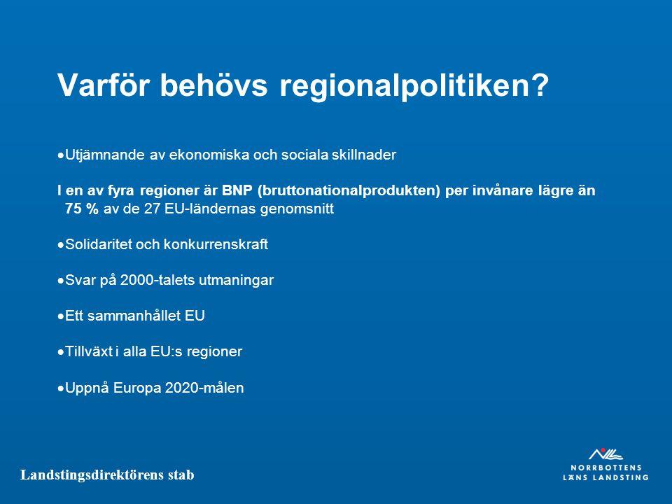 Landstingsdirektörens stab Varför behövs regionalpolitiken.