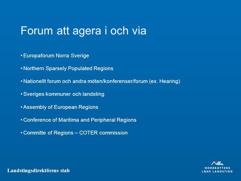 Landstingsdirektörens stab Forum att agera i och via Europaforum Norra Sverige Northern Sparsely Populated Regions Nationellt forum och andra möten/konferenser/forum (ex.