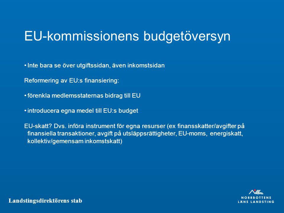 Landstingsdirektörens stab EU-kommissionens budgetöversyn Inte bara se över utgiftssidan, även inkomstsidan Reformering av EU:s finansiering: förenkla medlemsstaternas bidrag till EU introducera egna medel till EU:s budget EU-skatt.
