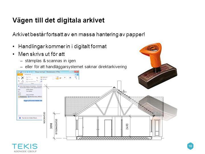10 Vägen till det digitala arkivet Arkivet består fortsatt av en massa hantering av papper.