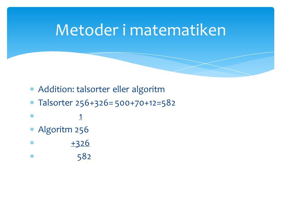  Addition: talsorter eller algoritm  Talsorter 256+326= 500+70+12=582  1  Algoritm 256  +326  582 Metoder i matematiken