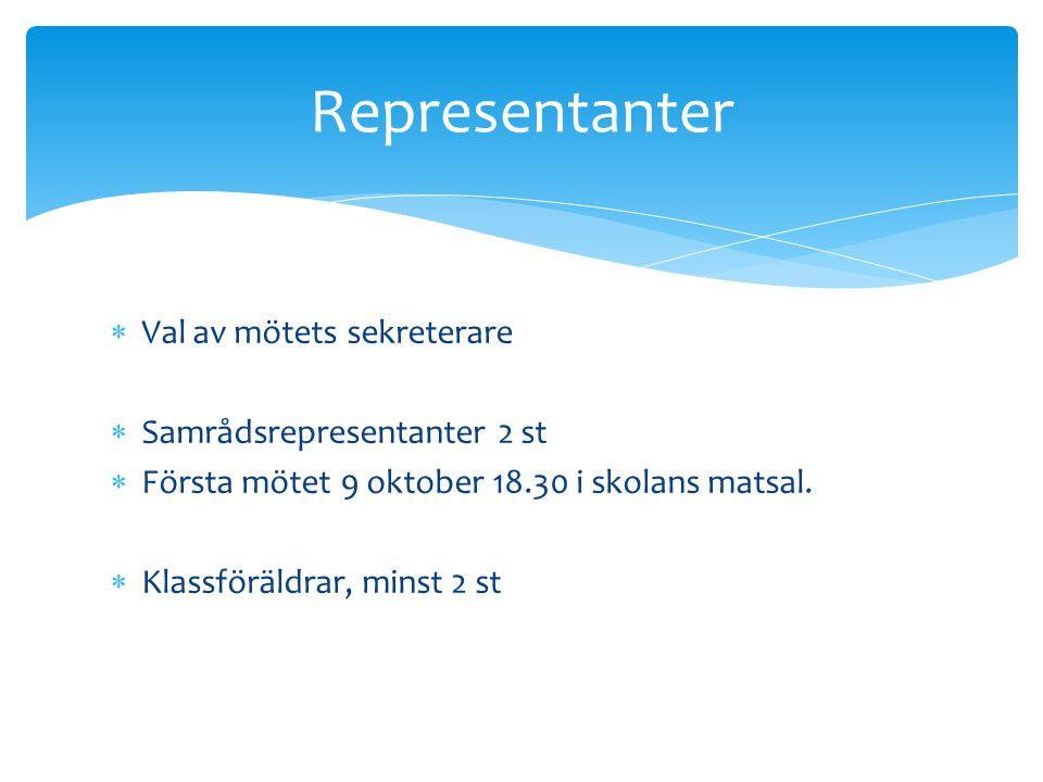  Val av mötets sekreterare  Samrådsrepresentanter 2 st  Första mötet 9 oktober 18.30 i skolans matsal.  Klassföräldrar, minst 2 st Representanter