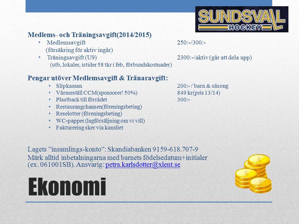 Ekonomi Medlems- och Träningsavgift(2014/2015) Medlemsavgift 250:-/300:- (försäkring för aktiv ingår) Träningsavgift (U9)2300:-/aktiv (går att dela up