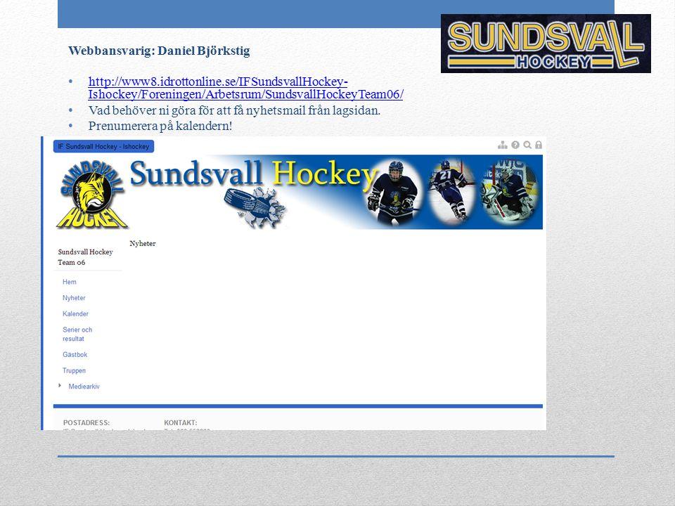 Webbansvarig: Daniel Björkstig http://www8.idrottonline.se/IFSundsvallHockey- Ishockey/Foreningen/Arbetsrum/SundsvallHockeyTeam06/ http://www8.idrotto