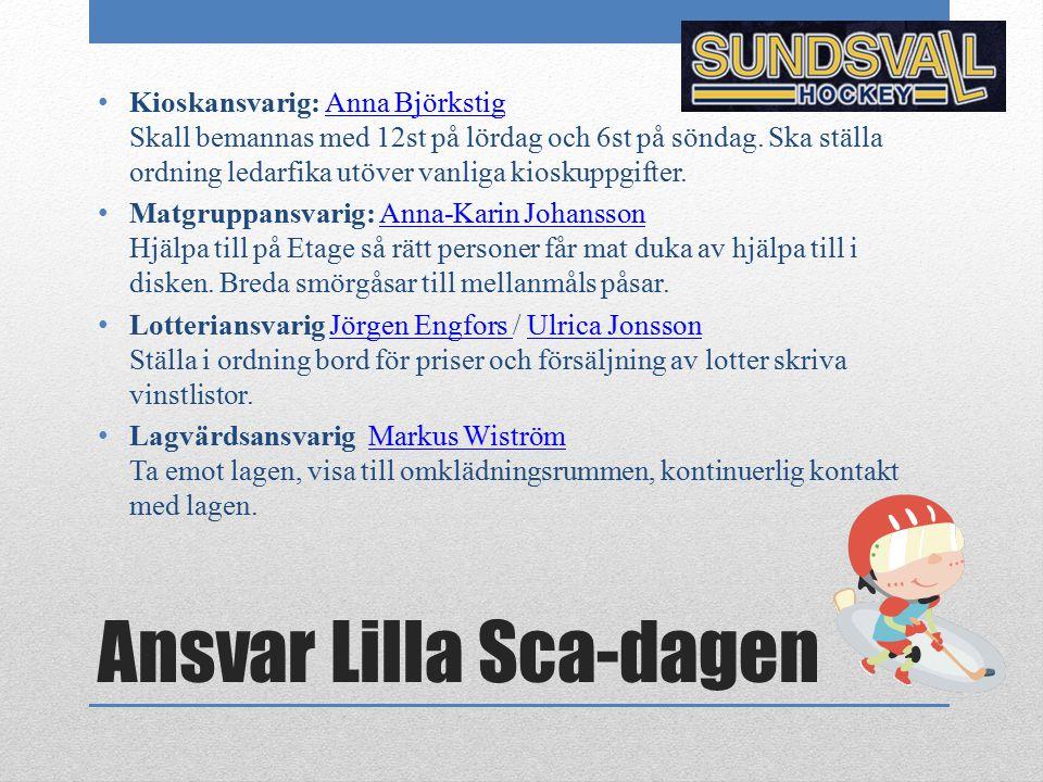 Ansvar Lilla Sca-dagen Kioskansvarig: Anna Björkstig Skall bemannas med 12st på lördag och 6st på söndag. Ska ställa ordning ledarfika utöver vanliga