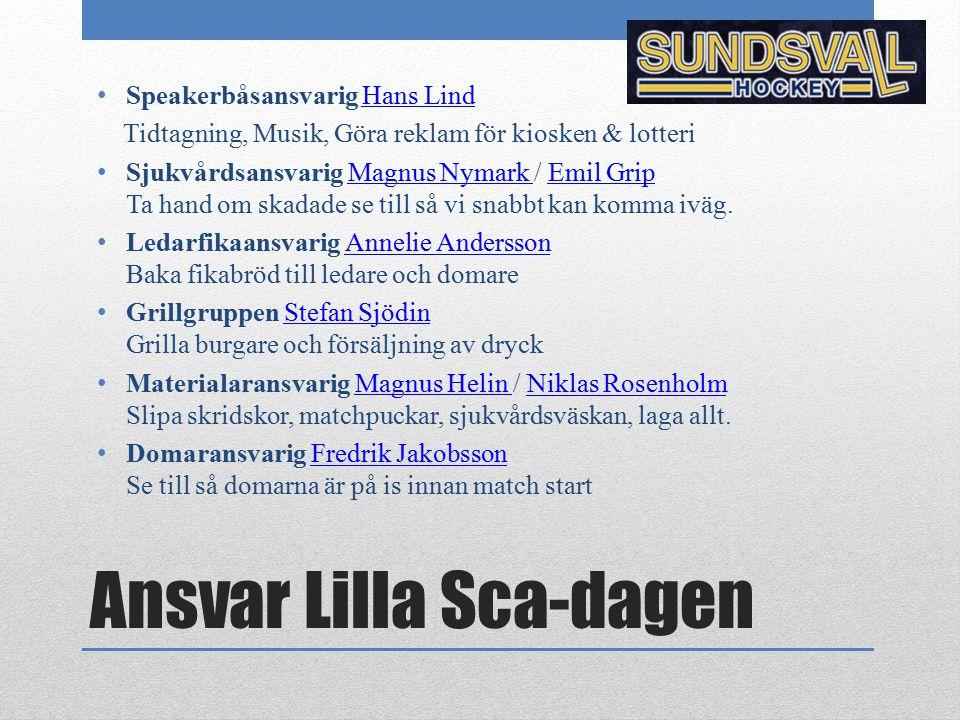 Ansvar Lilla Sca-dagen Speakerbåsansvarig Hans LindHans Lind Tidtagning, Musik, Göra reklam för kiosken & lotteri Sjukvårdsansvarig Magnus Nymark / Em