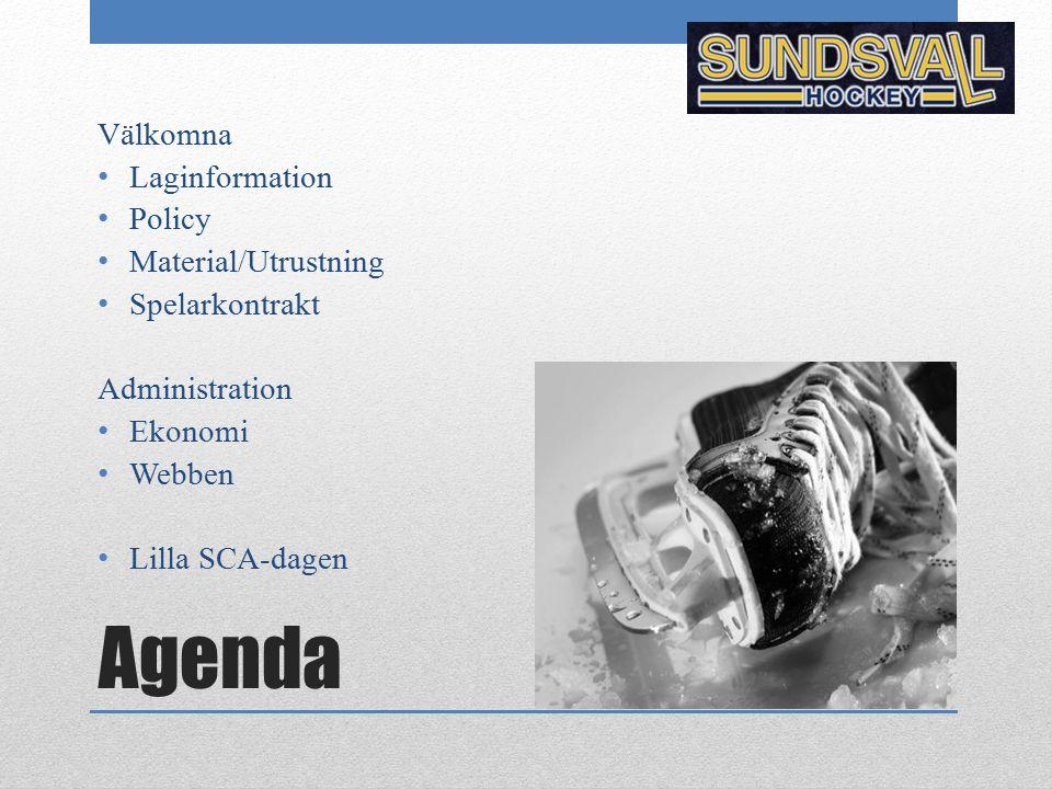 Agenda Välkomna Laginformation Policy Material/Utrustning Spelarkontrakt Administration Ekonomi Webben Lilla SCA-dagen