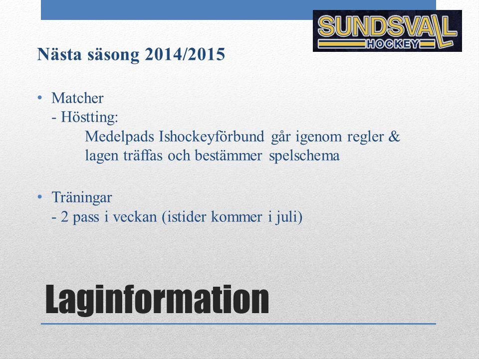 Laginformation Nästa säsong 2014/2015 Matcher - Höstting: Medelpads Ishockeyförbund går igenom regler & lagen träffas och bestämmer spelschema Träning