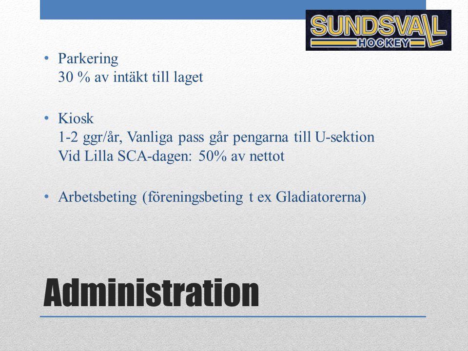 Administration Parkering 30 % av intäkt till laget Kiosk 1-2 ggr/år, Vanliga pass går pengarna till U-sektion Vid Lilla SCA-dagen: 50% av nettot Arbet