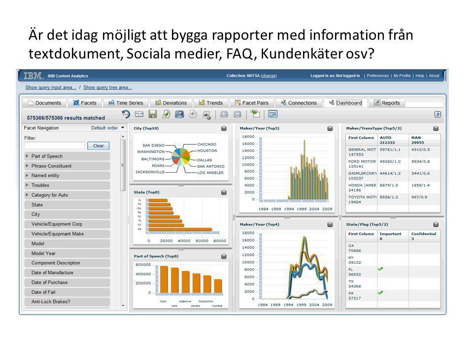 Är det idag möjligt att bygga rapporter med information från textdokument, Sociala medier, FAQ, Kundenkäter osv