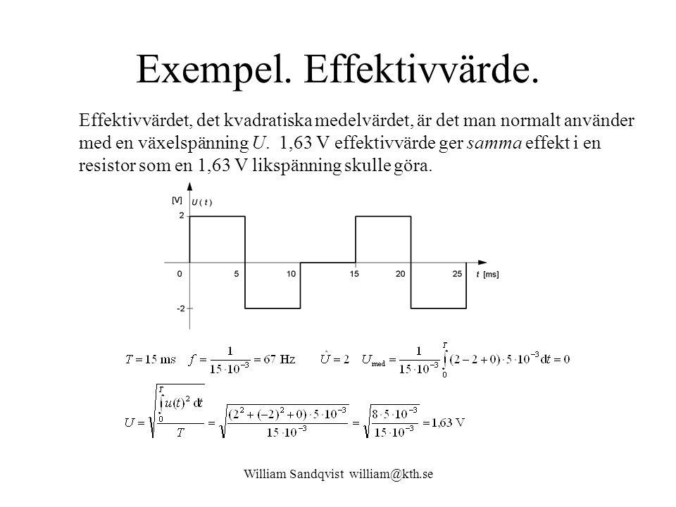 William Sandqvist william@kth.se Exempel. Effektivvärde. Effektivvärdet, det kvadratiska medelvärdet, är det man normalt använder med en växelspänning