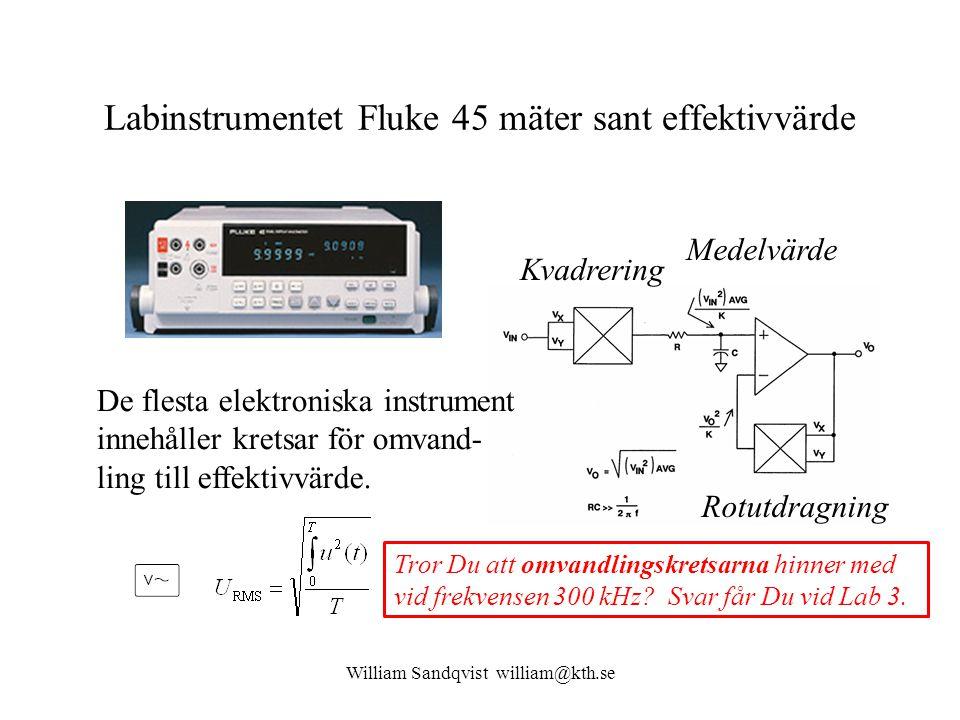 Labinstrumentet Fluke 45 mäter sant effektivvärde Medelvärde Kvadrering Rotutdragning De flesta elektroniska instrument innehåller kretsar för omvand-