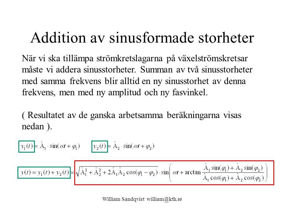 William Sandqvist william@kth.se Addition av sinusformade storheter När vi ska tillämpa strömkretslagarna på växelströmskretsar måste vi addera sinuss