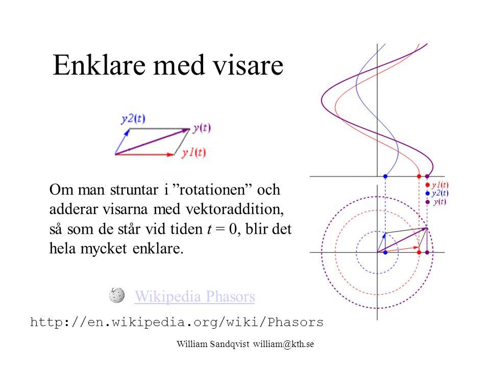 """William Sandqvist william@kth.se Enklare med visare Om man struntar i """"rotationen"""" och adderar visarna med vektoraddition, så som de står vid tiden t"""