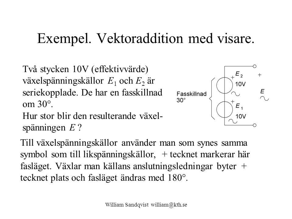 Exempel. Vektoraddition med visare. Två stycken 10V (effektivvärde) växelspänningskällor E 1 och E 2 är seriekopplade. De har en fasskillnad om 30°. H