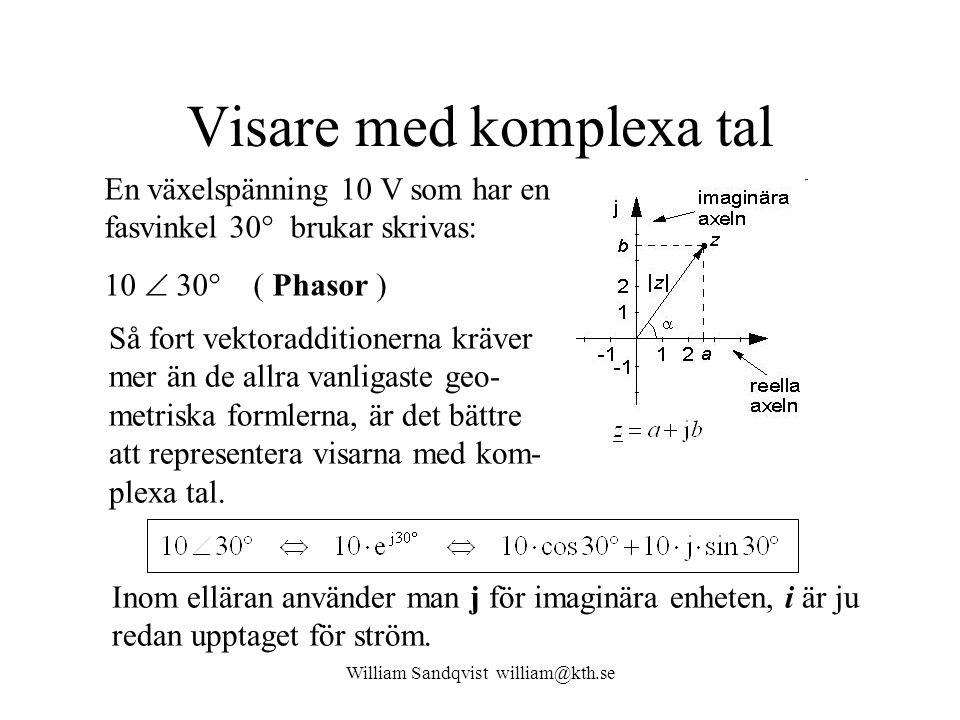 Visare med komplexa tal En växelspänning 10 V som har en fasvinkel 30° brukar skrivas: 10  30° ( Phasor ) Så fort vektoradditionerna kräver mer än de